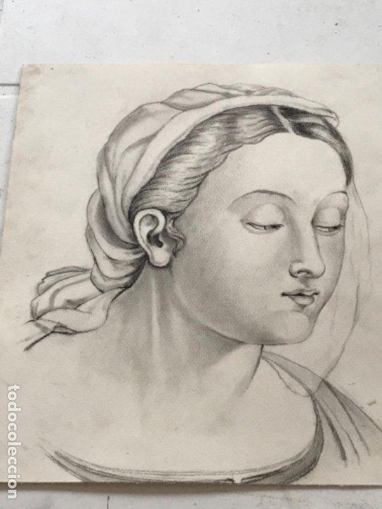 Arte: DIBUJO A LÁPIZ DE LA VIRGEN MARÍA. ANÓNIMO. PRINCIPIOS S.XX. - Foto 2 - 178753086