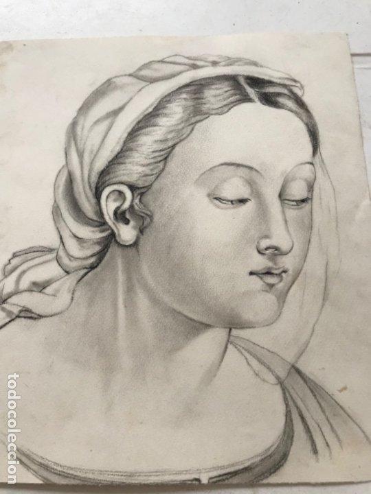 Arte: DIBUJO A LÁPIZ DE LA VIRGEN MARÍA. ANÓNIMO. PRINCIPIOS S.XX. - Foto 3 - 178753086