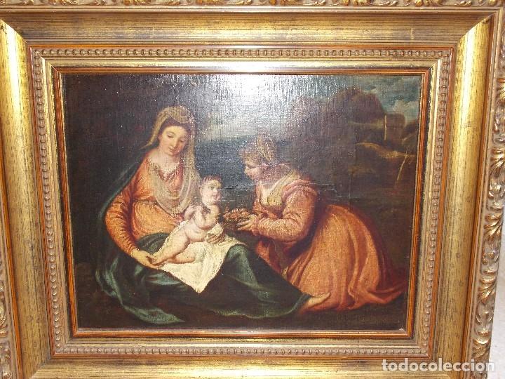 ANTIGUO OLEO SOBRE LIENZO VIRGEN Y SANTA CATALINA (Arte - Arte Religioso - Pintura Religiosa - Oleo)