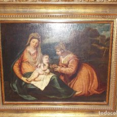 Arte: ANTIGUO OLEO SOBRE LIENZO VIRGEN Y SANTA CATALINA XVI - XVII. Lote 178792141