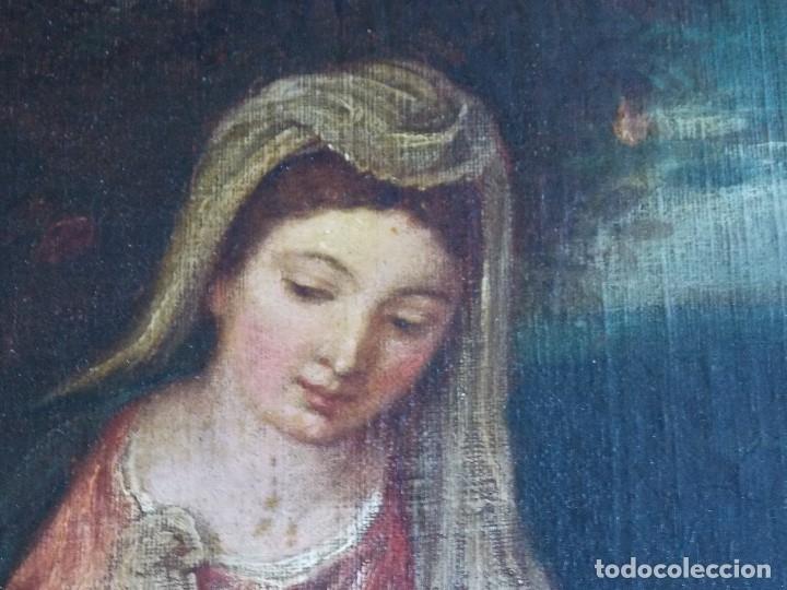 Arte: ANTIGUO OLEO SOBRE LIENZO VIRGEN Y SANTA CATALINA - Foto 5 - 178792141