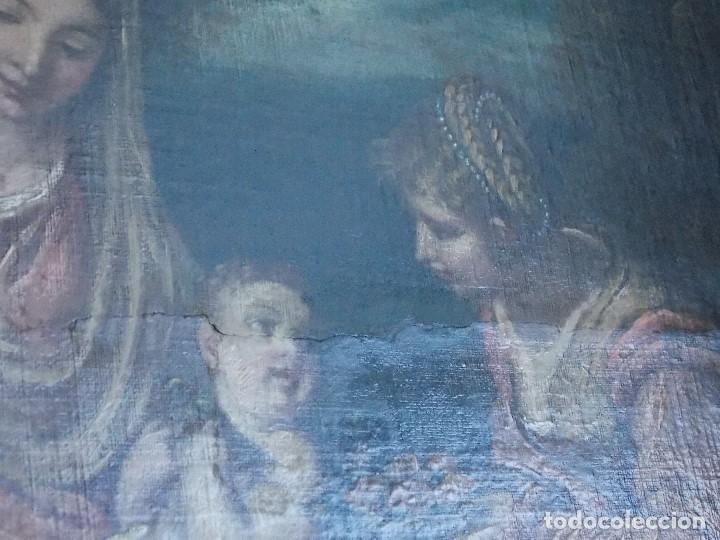 Arte: ANTIGUO OLEO SOBRE LIENZO VIRGEN Y SANTA CATALINA - Foto 10 - 178792141