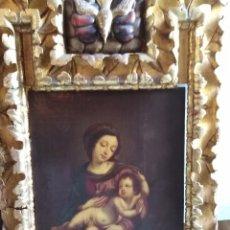 Arte: ANTIGUO OLEO SOBRE LIENZO SIGLO XVIII VIRGEN CON NIÑO. Lote 178809588