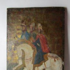 Arte: MUY RARO RETABLO PINTADO AL OLEO ESTILO GOTICO XVI-XVII HISPANO FLAMENCO CON TRES REYES. Lote 178823906