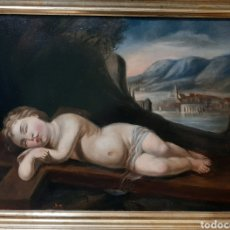 Arte: NIÑO DE LA PASIÓN. OLEO/COBRE, ESC. ESPAÑOLA S. XVIII. FIRMADO CON ANAGRAMA.. Lote 178850628