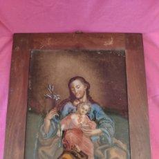 Arte: ÓLEO/ VIDRIO SAN JOSÉ CON NIÑO SIGLO XVIII-XIX - 1000-010. Lote 43107282