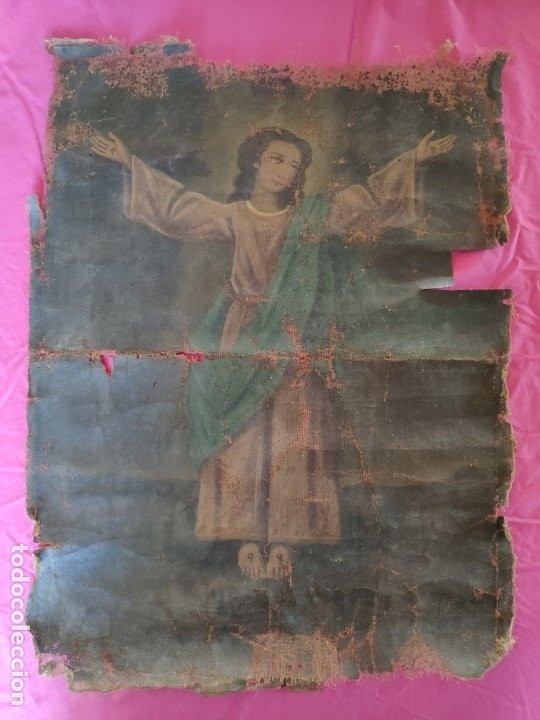 ÓLEO SOBRE LIENZO NIÑO DE PASIÓN SIGLO XVIII - 1000-088 (Arte - Arte Religioso - Pintura Religiosa - Oleo)