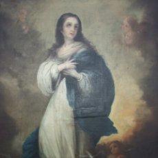 Arte: VIRGEN INMACULADA ESTILO MURILLO - OLEO TELA GRAN TAMAÑO 80X100CM - S. XVIII RESTAURACION ANTIGUA. Lote 178878672