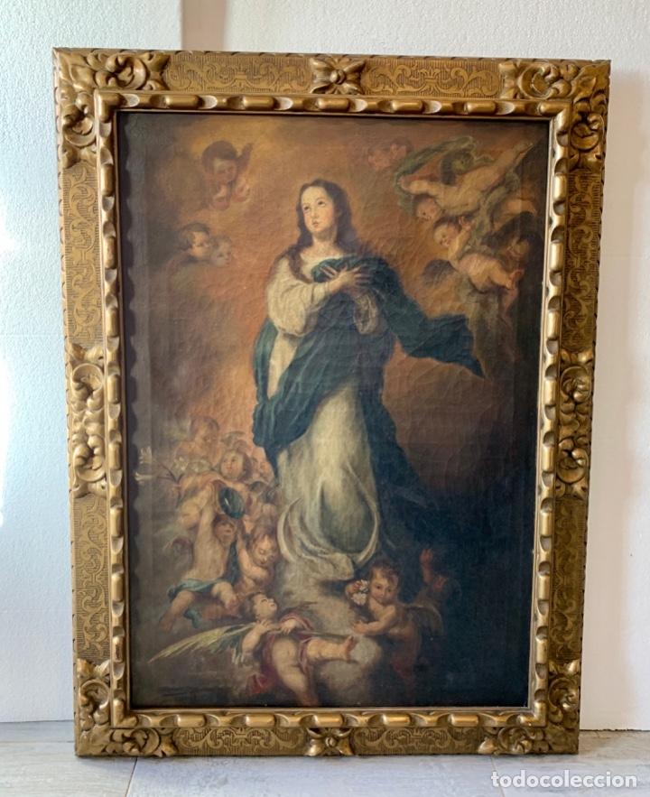 OLEO SOBRE LIENZO VIRGEN FIRMADO (Arte - Arte Religioso - Pintura Religiosa - Oleo)