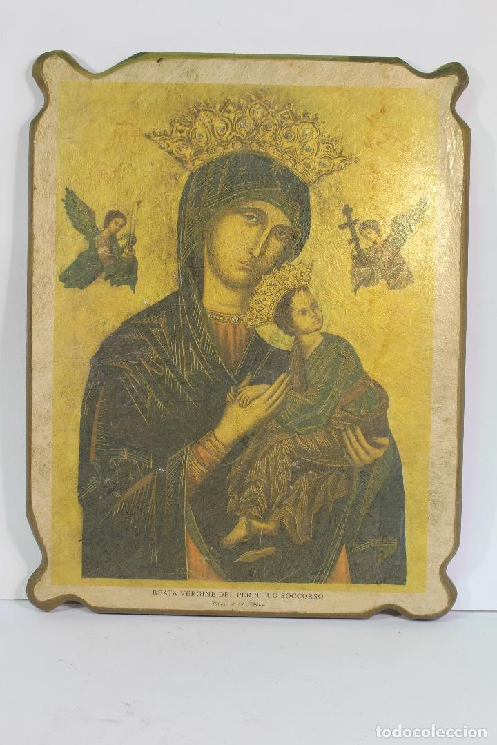 NUESTRA SEÑORA DEL PERPETUO SOCORRO EN MADERA LAMINA (Arte - Arte Religioso - Iconos)