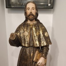 Arte: SANTIAGO TALLA DE MADERA ANTIGUA. ESCULTURA MADERA ANTIGUA DORADA Y POLICROMADA. TALLA SANTIAGO.. Lote 178928913