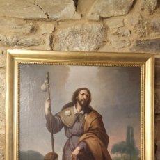 Arte: ÓLEO SAN ROQUE, FIRMADO F. ESCRIBANO. CUADRO SAN ROQUE ANTIGUO.. Lote 178930705