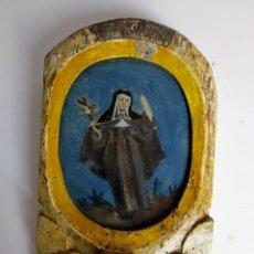 Arte: PINTURA SOBRE CRISTAL ENMARCADO, PORTAVELAS O BENDITERA. SIGLO XVIII.. Lote 178970981
