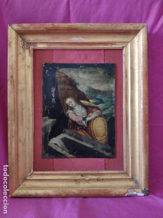 ÓLEO SOBRE COBRE Mª MAGDALENA EN EL SEPULCRO SIGLO XVI - 1000-024 (Arte - Arte Religioso - Pintura Religiosa - Oleo)