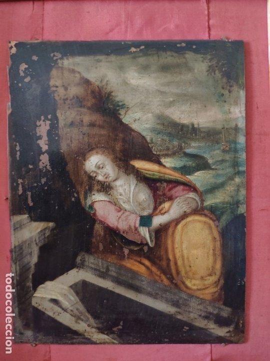 Arte: ÓLEO SOBRE COBRE Mª MAGDALENA EN EL SEPULCRO SIGLO XVI - 1000-024 - Foto 14 - 43107522