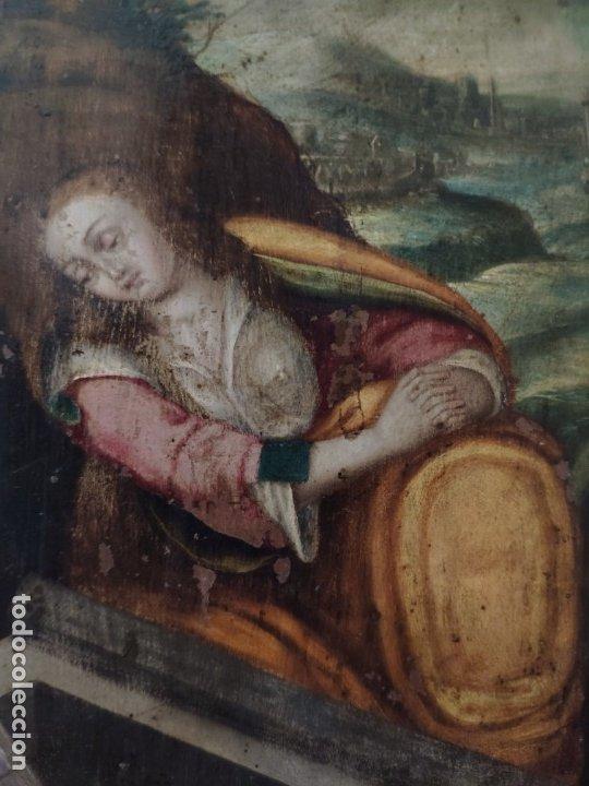 Arte: ÓLEO SOBRE COBRE Mª MAGDALENA EN EL SEPULCRO SIGLO XVI - 1000-024 - Foto 15 - 43107522