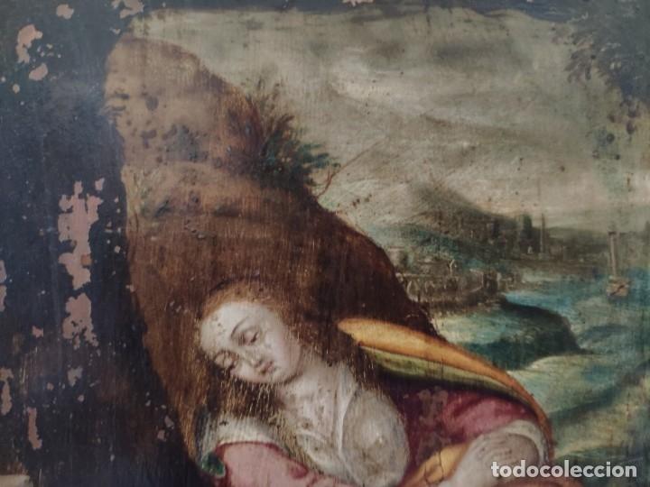 Arte: ÓLEO SOBRE COBRE Mª MAGDALENA EN EL SEPULCRO SIGLO XVI - 1000-024 - Foto 16 - 43107522