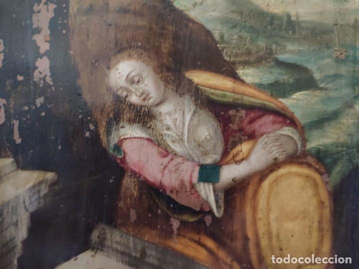 Arte: ÓLEO SOBRE COBRE Mª MAGDALENA EN EL SEPULCRO SIGLO XVI - 1000-024 - Foto 17 - 43107522