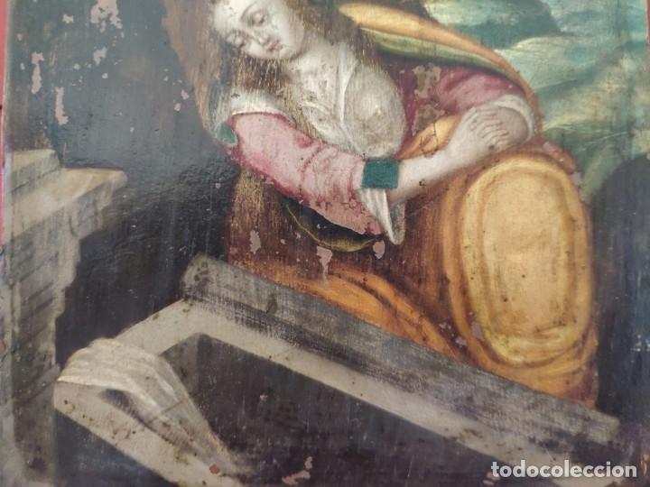 Arte: ÓLEO SOBRE COBRE Mª MAGDALENA EN EL SEPULCRO SIGLO XVI - 1000-024 - Foto 18 - 43107522