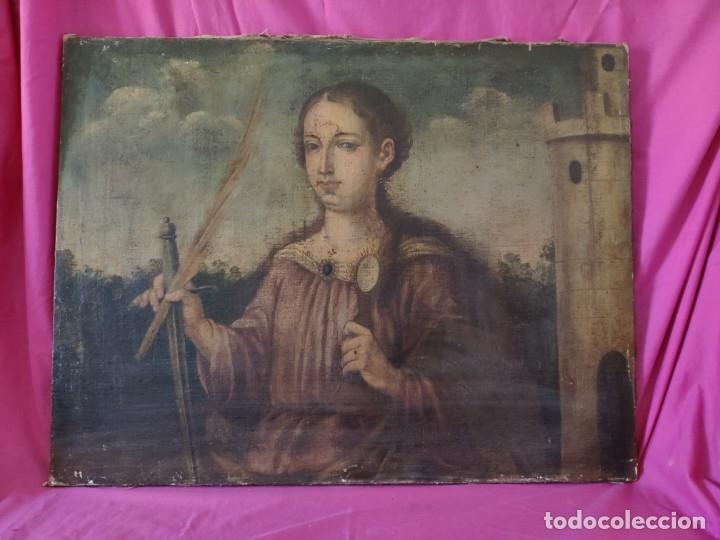 ÓLEO SOBRE LIENZO SANTA BARBARA SIGLO XVI-XVII - 1000-038 (Arte - Arte Religioso - Pintura Religiosa - Oleo)