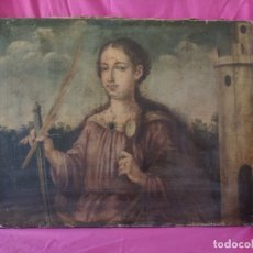 Arte: ÓLEO SOBRE LIENZO SANTA BARBARA SIGLO XVI-XVII - 1000-038. Lote 43109684
