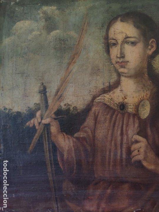 Arte: ÓLEO SOBRE LIENZO SANTA BARBARA SIGLO XVI-XVII - 1000-038 - Foto 13 - 43109684