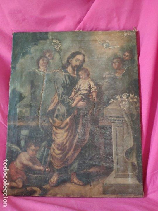 ÓLEO SOBRE LIENZO SAN JOSÉ CON NIÑO SIGLO XVIII - 1000-066 (Arte - Arte Religioso - Pintura Religiosa - Oleo)