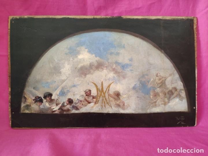 ÓLEO SOBRE PAPEL ADHERIDO A TABLA WSSEL ALEGORÍA A LA VIRGEN SIGLO XIX- XX - 1000-014 (Arte - Arte Religioso - Pintura Religiosa - Oleo)