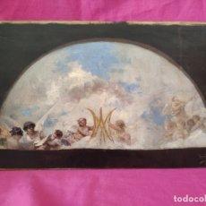Arte: ÓLEO SOBRE PAPEL ADHERIDO A TABLA WSSEL ALEGORÍA A LA VIRGEN SIGLO XIX- XX - 1000-014. Lote 43425175