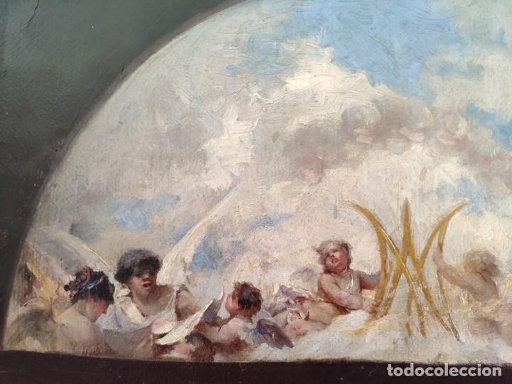 Arte: ÓLEO SOBRE PAPEL ADHERIDO A TABLA WSSEL ALEGORÍA A LA VIRGEN SIGLO XIX- XX - 1000-014 - Foto 11 - 43425175