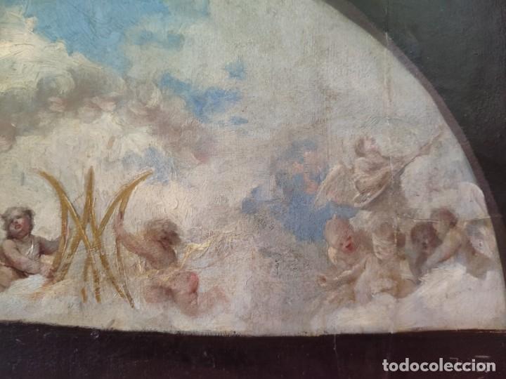 Arte: ÓLEO SOBRE PAPEL ADHERIDO A TABLA WSSEL ALEGORÍA A LA VIRGEN SIGLO XIX- XX - 1000-014 - Foto 12 - 43425175
