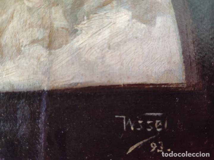 Arte: ÓLEO SOBRE PAPEL ADHERIDO A TABLA WSSEL ALEGORÍA A LA VIRGEN SIGLO XIX- XX - 1000-014 - Foto 13 - 43425175