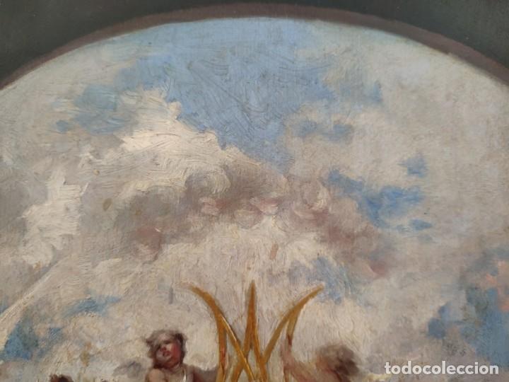 Arte: ÓLEO SOBRE PAPEL ADHERIDO A TABLA WSSEL ALEGORÍA A LA VIRGEN SIGLO XIX- XX - 1000-014 - Foto 14 - 43425175