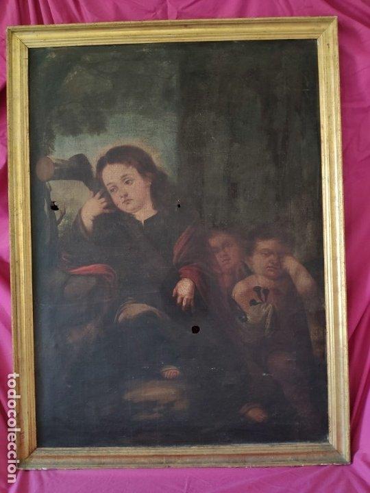 ÓLEO SOBRE LIENZO NIÑO DE PASIÓN SIGLO XVII - 1000-050 (Arte - Arte Religioso - Pintura Religiosa - Oleo)