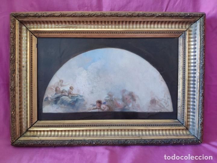 ÓLEO SOBRE PAPEL BOCETO DE TEMA RELIGIOSO CON ALEGORÍA DE LA VIRGEN - 1000-020 (Arte - Arte Religioso - Pintura Religiosa - Oleo)