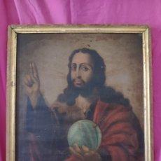 Arte: ÓLEO SOBRE LIENZO SALVATOR MUNDI SIGLO XVII-XVIII - 1000-040. Lote 43112676