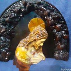 Arte: ANTIGUA IMAGEN DE CORAZÓN DE JESÚS DE JESUCRISTO EN ESTUCO POLICROMADO. Lote 179015290