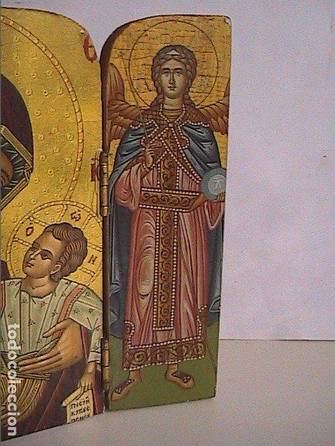 Arte: ICONO TRÍPTICO BIZANTINO. VIRGEN CON NIÑO Y ÁNGELES. GRECIA. SERIGRAFIA SOBRE MADERA. - Foto 2 - 179019260