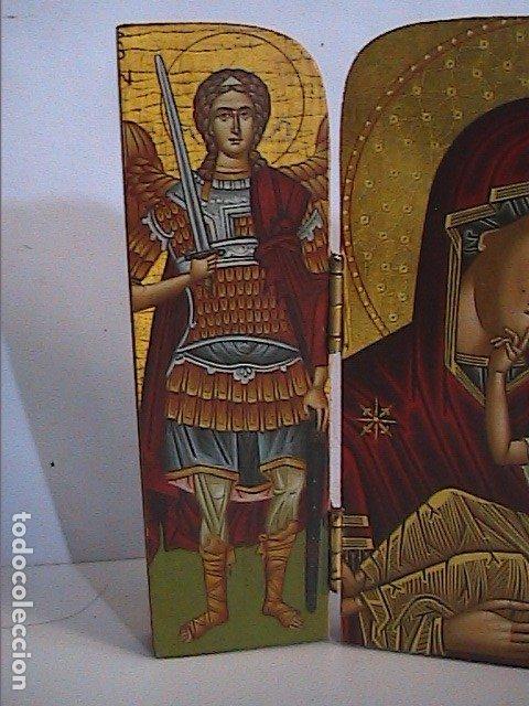 Arte: ICONO TRÍPTICO BIZANTINO. VIRGEN CON NIÑO Y ÁNGELES. GRECIA. SERIGRAFIA SOBRE MADERA. - Foto 3 - 179019260