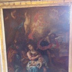 Arte: ANTIGUO OLEO SOBRE LIENZO RELIGIOSO ESCENA CON VIRGEN SIGLO XVII ESCUELA ESPAÑOLA. Lote 179020723