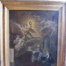 Arte: ANTIGUO OLEO SOBRE LIENZO ESCENA RELIGIOSA XVIII. Lote 179023030