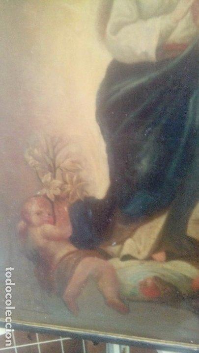 Arte: Escuela española S.XIX Inmaculada oleo sobre lienzo - Foto 4 - 179033767