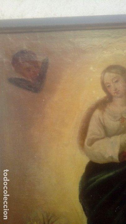 Arte: Escuela española S.XIX Inmaculada oleo sobre lienzo - Foto 5 - 179033767