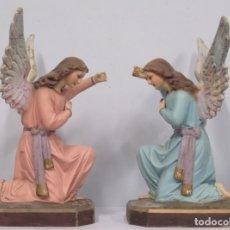 Arte: PRECIOSA PAREJA DE ANGELES TORCHEROS. Lote 179044782