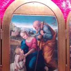 Arte: PRECIOSO RETABLO TRÍPTICO DE LA SAGRADA FAMILIA CON ANGELES. Lote 179081197