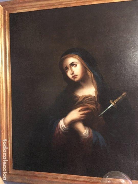 IMPRESIONANTE DOLOROSA SIGLO XIX FIRMADA (Arte - Arte Religioso - Pintura Religiosa - Oleo)