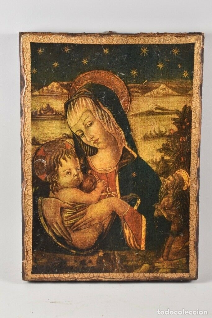 ANTIGUO ICONO MADERA SIGLO XVIII -XIX 38X28 CM (Arte - Arte Religioso - Iconos)