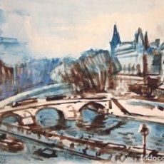 Arte: EMILI BOSCH ROGER (BARCELONA, 1894 - 1980) ACUARELA PAPEL FECHADA EN PARIS DEL AÑO 1955. RIO SENA. Lote 179208048