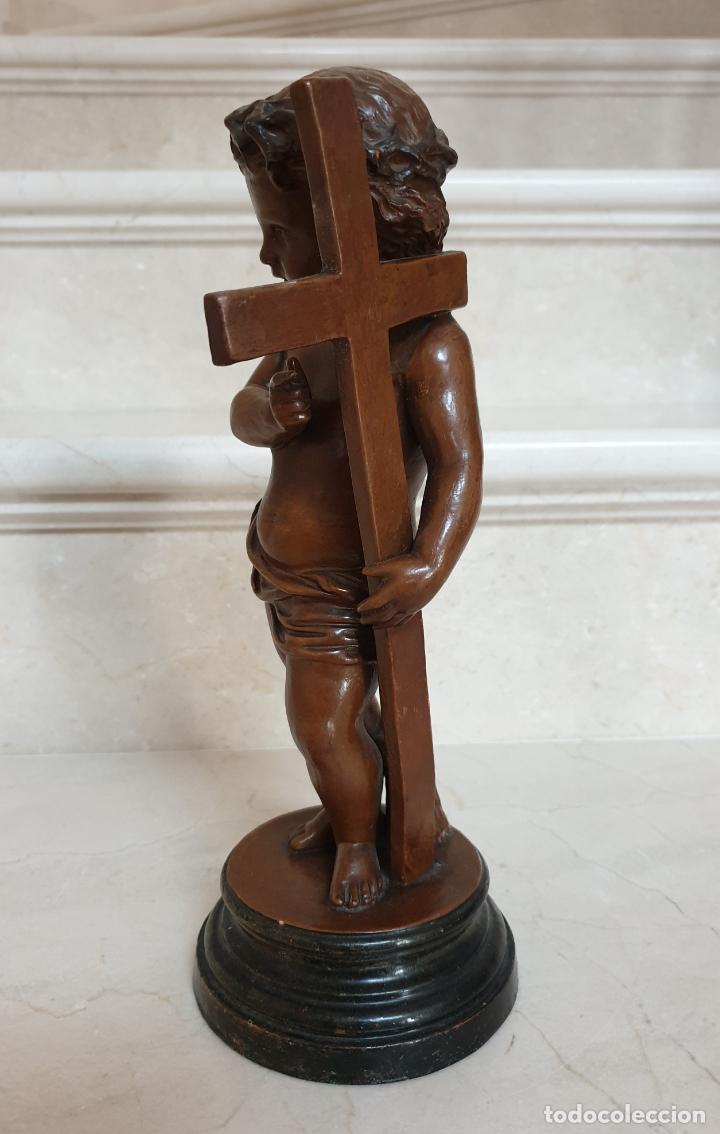 Arte: PRECIOSO NIÑO JESUS ANTIGUO EN TERRACOTA CON CRUZ Y CORONA DE ESPINAS,S. XIX - Foto 4 - 179244155
