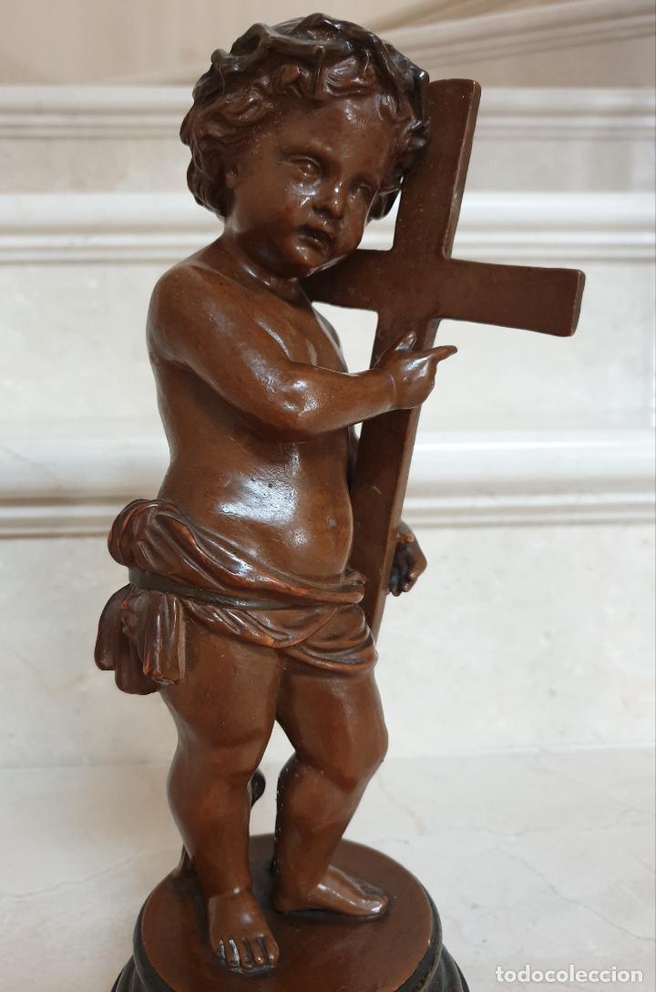 Arte: PRECIOSO NIÑO JESUS ANTIGUO EN TERRACOTA CON CRUZ Y CORONA DE ESPINAS,S. XIX - Foto 7 - 179244155